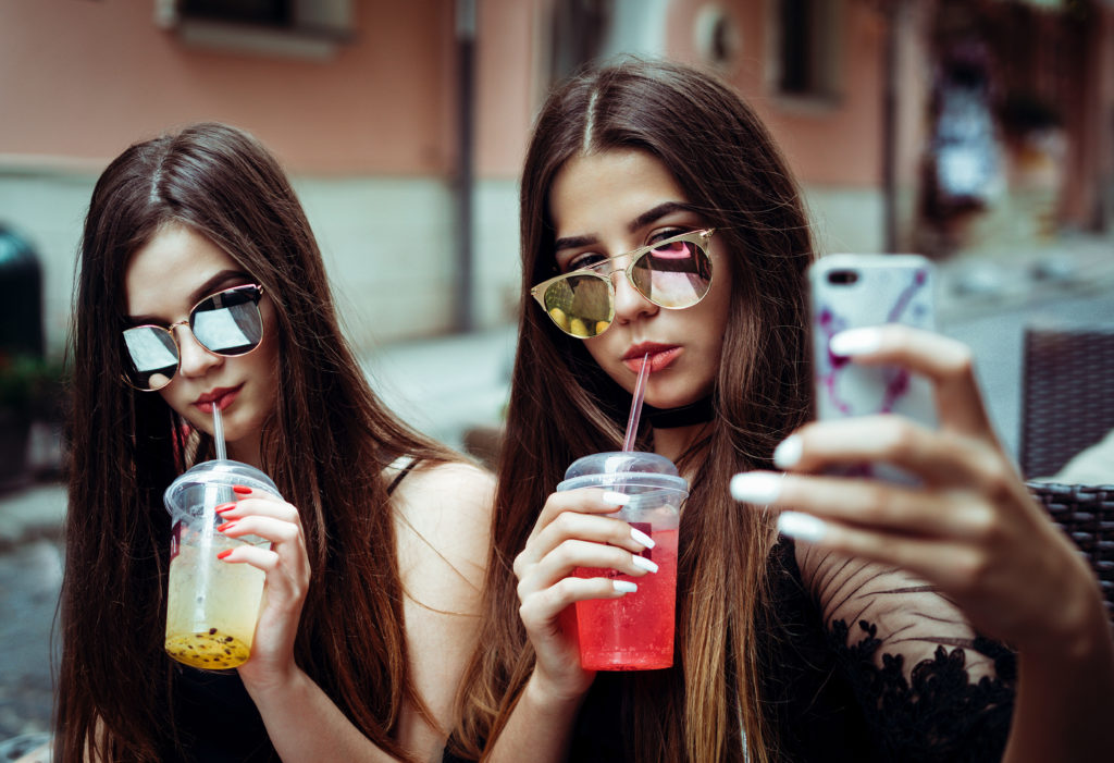 Two girls taking a selfie